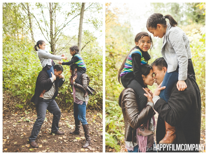kids sitting on parents shoulders  — Seattle Family Photos - Black River Riparian Forest and Wetland - the Happy Film Company
