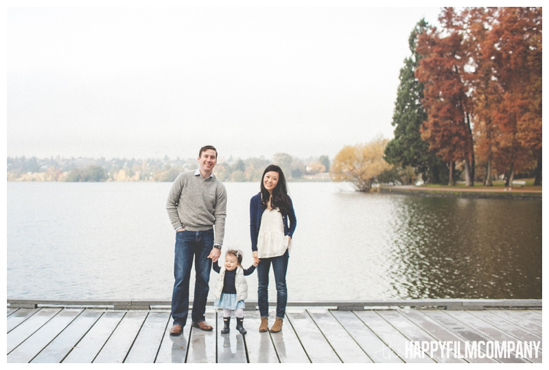 family standing on a dock in fog - the Happy Film COmpany - Greenlake Park Seattle Family HOliday Photos