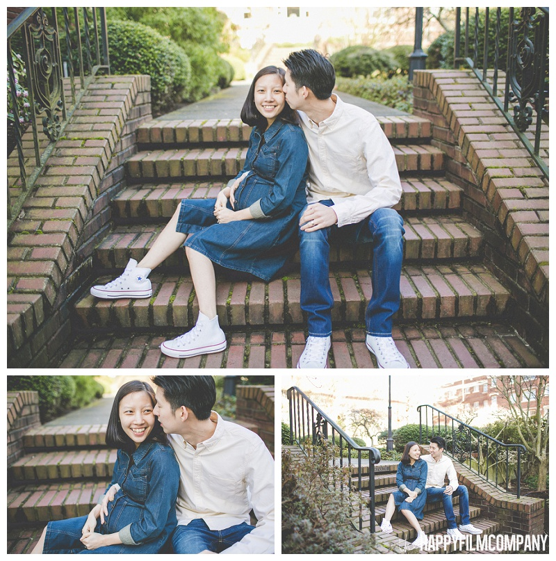 couple sitting on brick stairs cuddling portraits kissing on cheek  - the Happy Film Company - Seattle Maternity Photography
