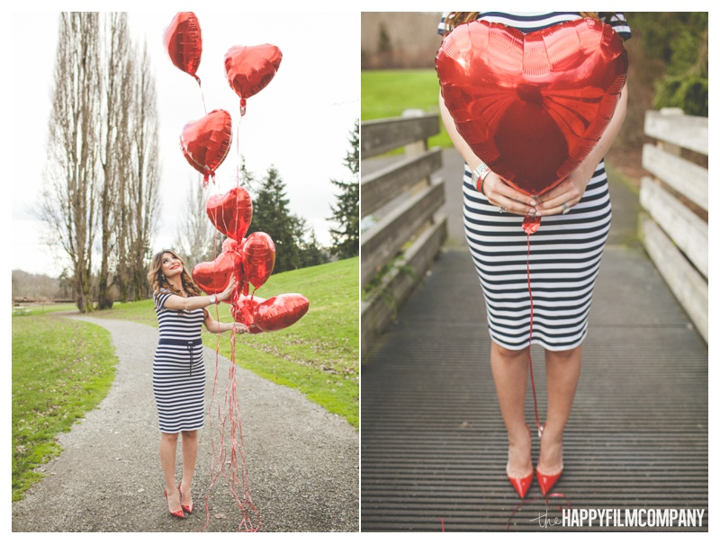 Black and white stripes outfit - red heart shape ballon - the Happy Film Company - Seattle Family Photos