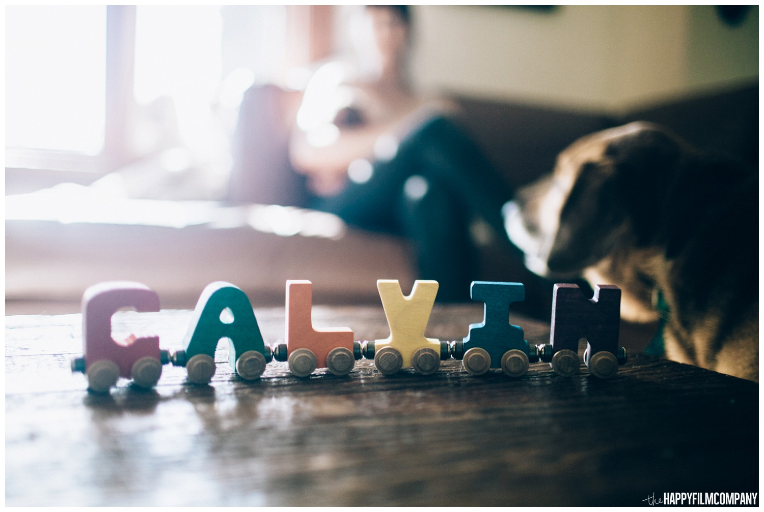 wooden letter name trains prop - the Happy Film Company - Seattle family photos