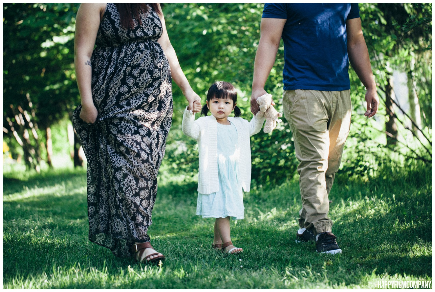 Family of 3 at Sammamish River Trail - the Happy Film Company - Seattle Family  Photography