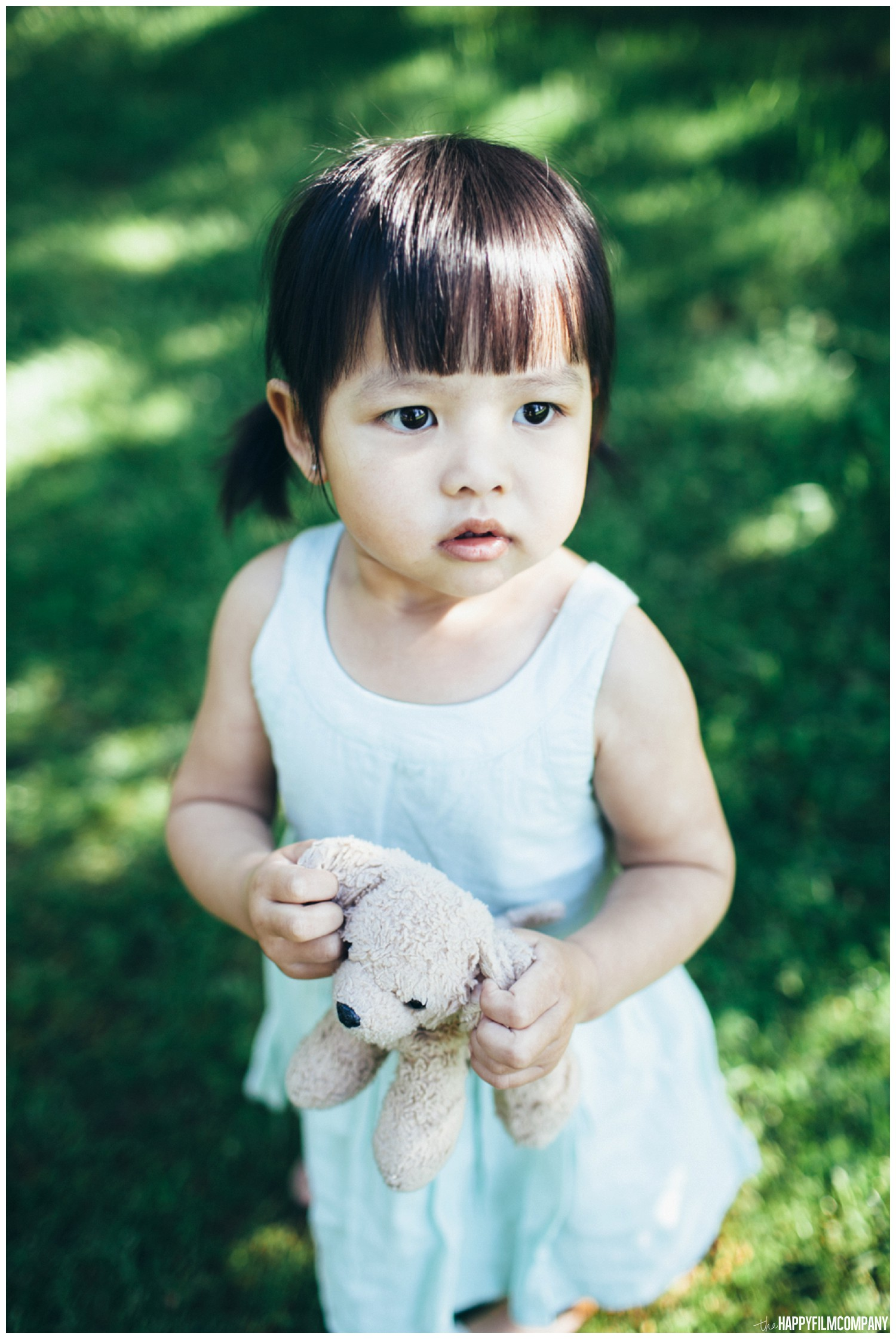 Little girl in a white cute dress - the Happy Film Company - Seattle Family  Photography