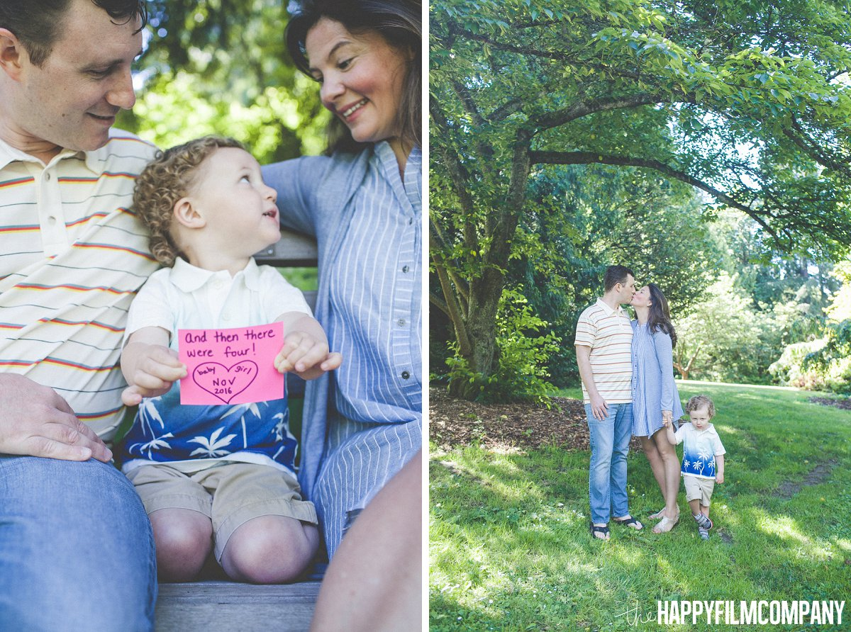 Little boy holding a note for baby #2 -  the Happy Film Company - Seattle Family Photos