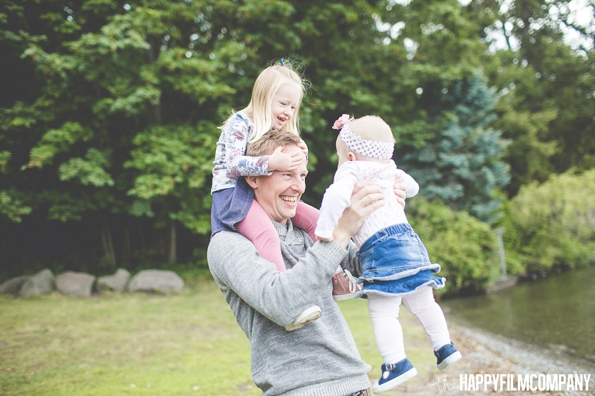 Dad carrying her two little girls - the Happy Film Company - Seattle Family Photos