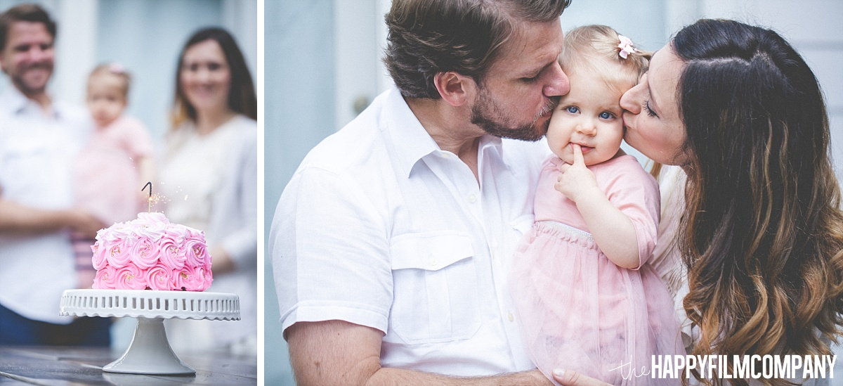 Mom and dad kissing the birthday girl - the Happy Film Company - Seattle Family Photos