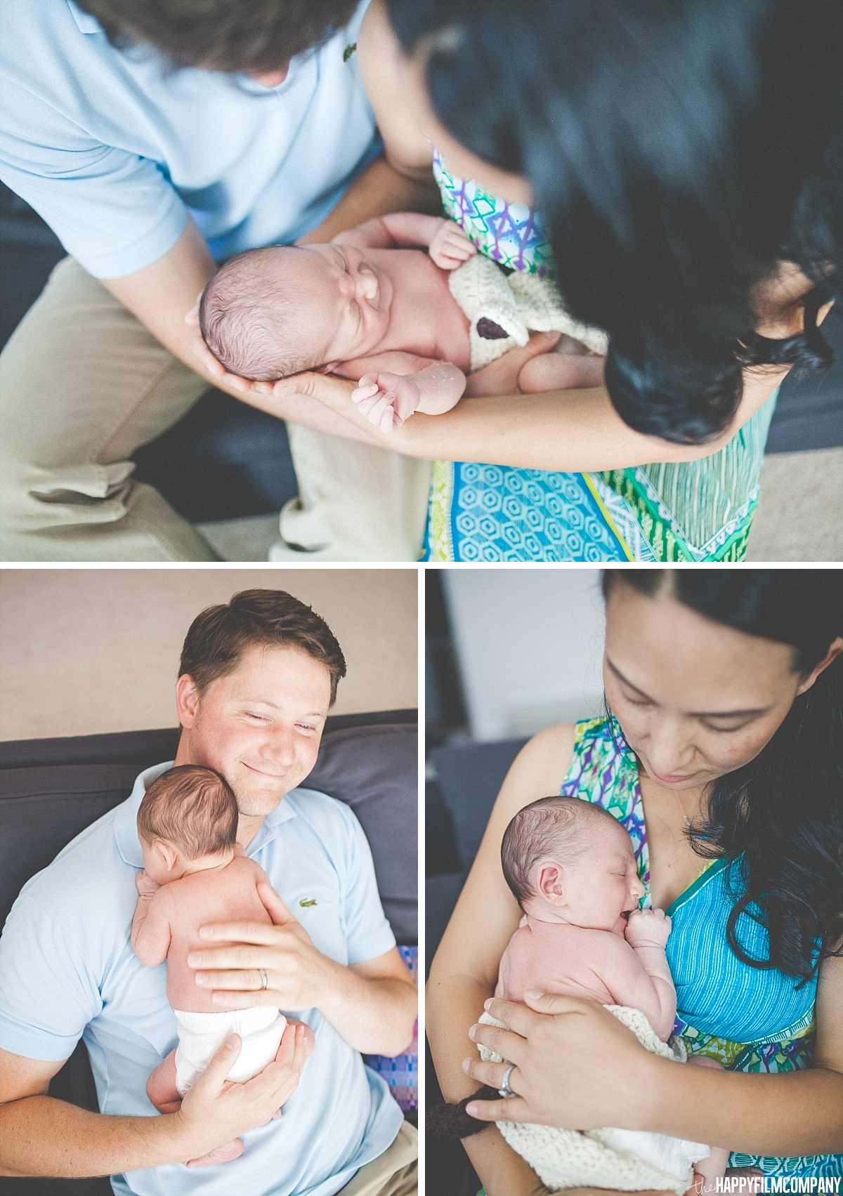 Mom and Dad with the new born baby photos - - the Happy Film Company - Seattle Family Photos
