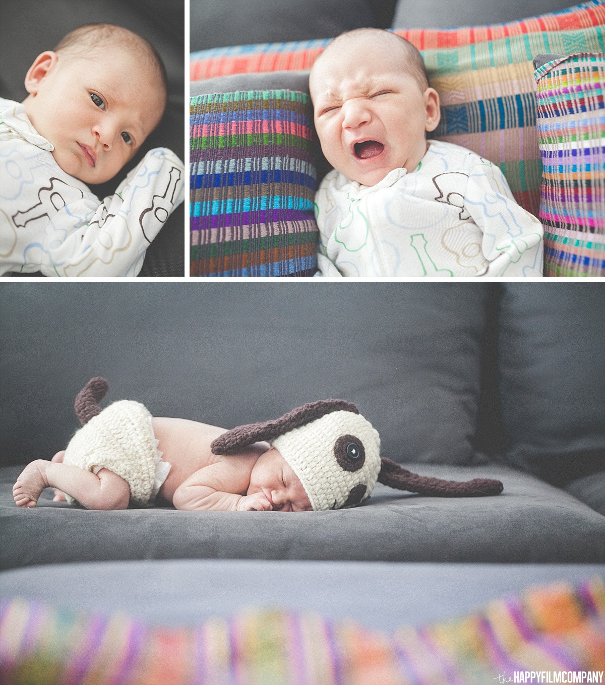 Newborn photography session in the couch - - the Happy Film Company - Seattle Family Photos