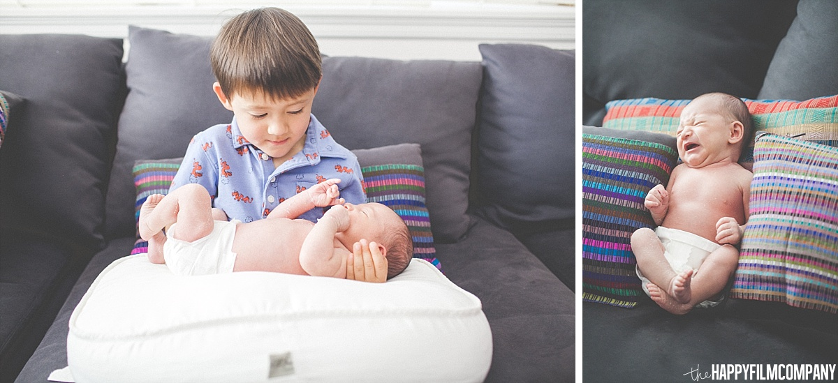 Little boy and new born baby portrait - - the Happy Film Company - Seattle Family Photos