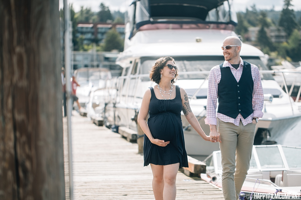 Maternity Photo - Walking by the boat dock - the Happy Film Company - Seattle Family Photos