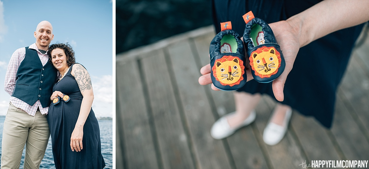 Black baby shoes with printed animal design - Maternity shoot - the Happy Film Company - Seattle Family Photos