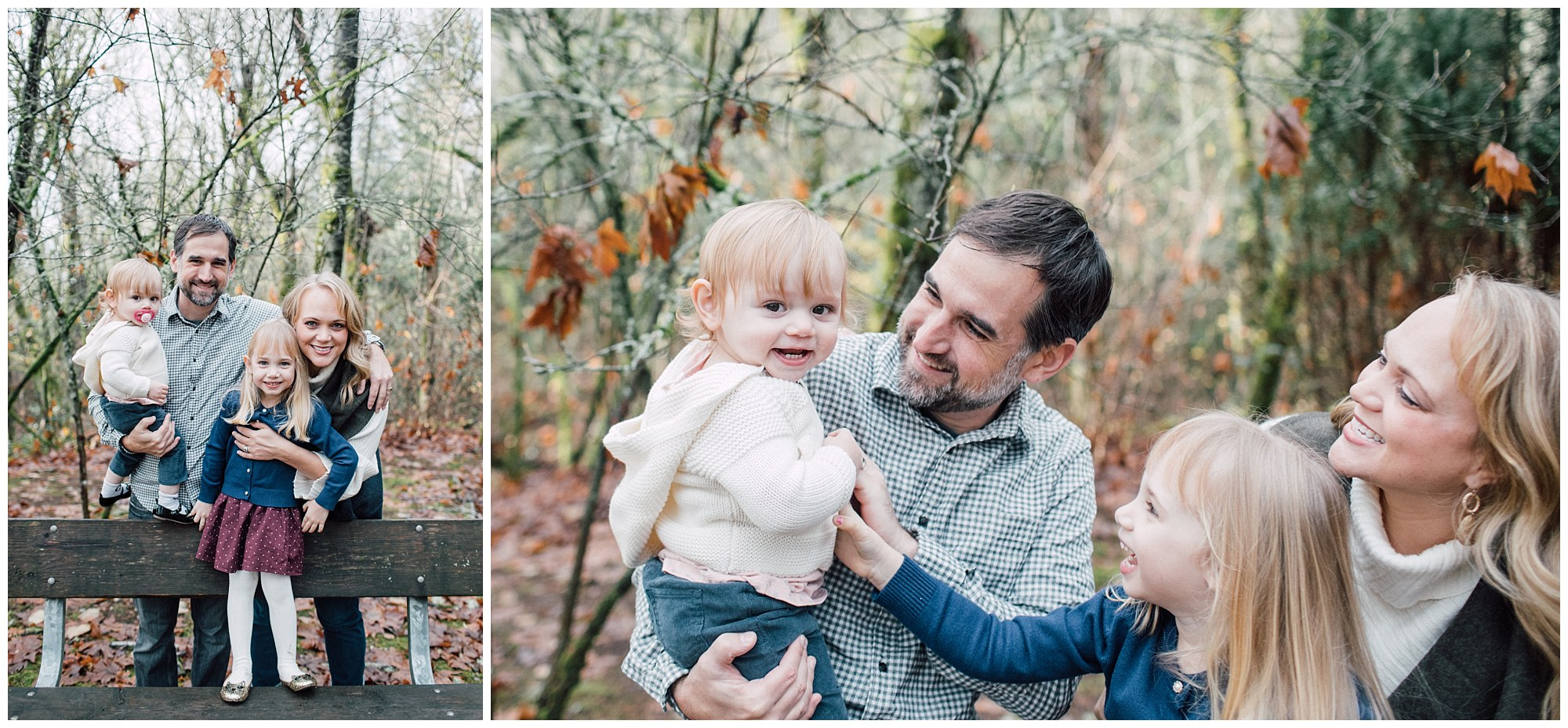 the Happy Film Company - St. Edwards Park - Seattle Family Photography - family standing on bench in forest autumn leaves