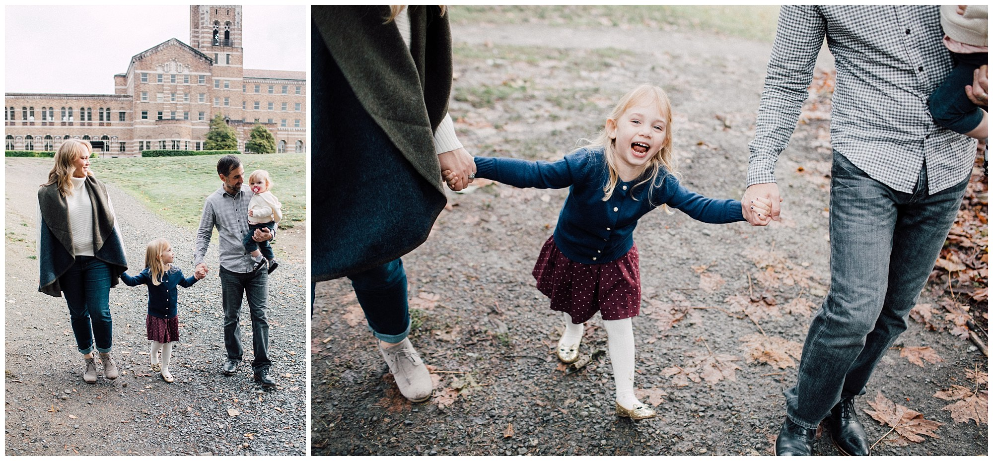 the Happy Film Company - St. Edwards Park - Seattle Family Photography - Family walking down path holding hands with brick building