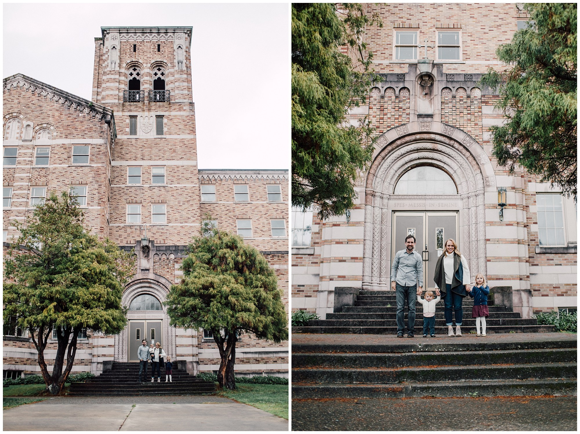 the Happy Film Company - St. Edwards Park - Seattle Family Photography - family portrait on steps outside brick building holding hands in a line
