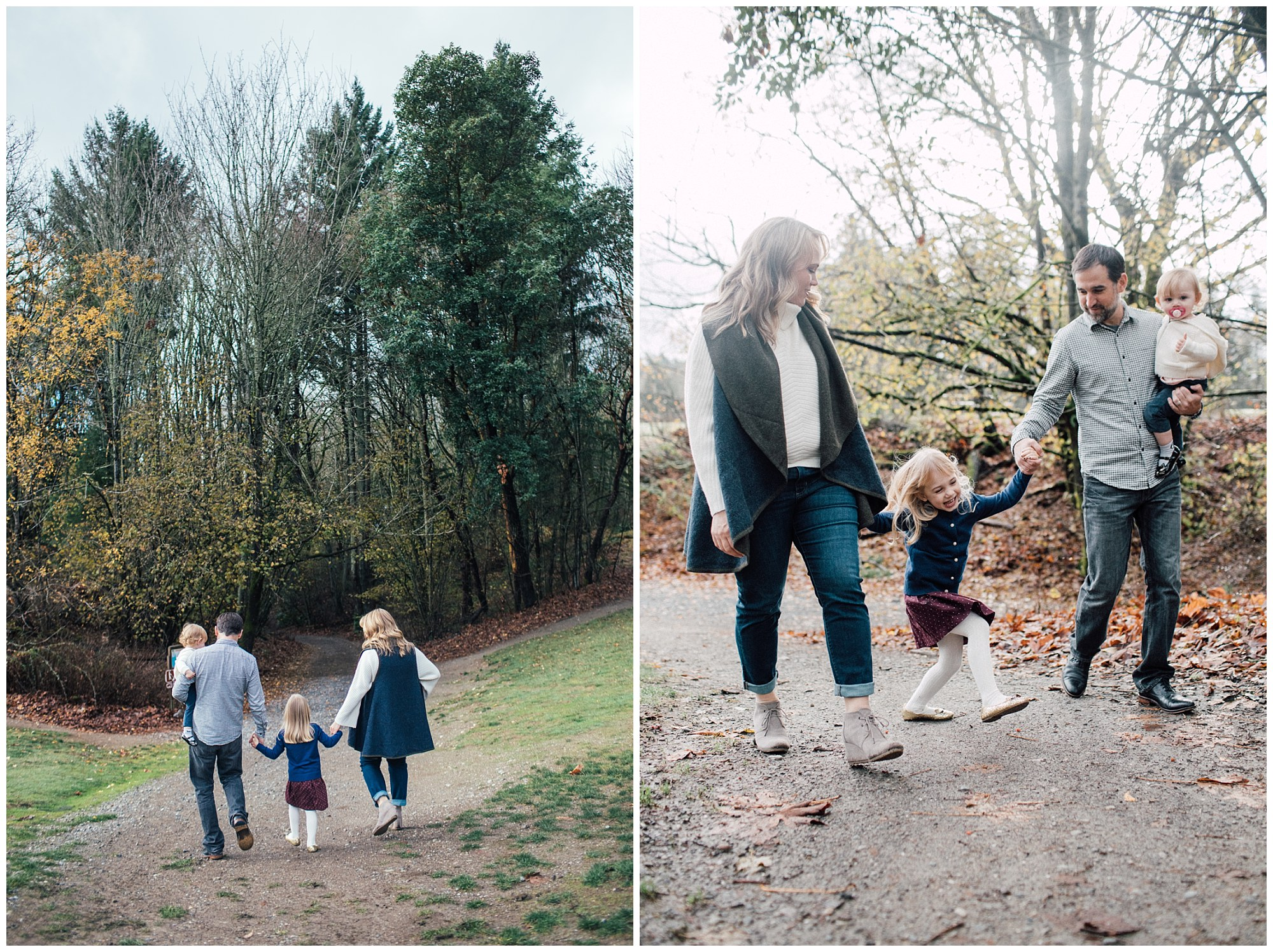the Happy Film Company - St. Edwards Park - Seattle Family Photography - family walking with kids in forest holding hands