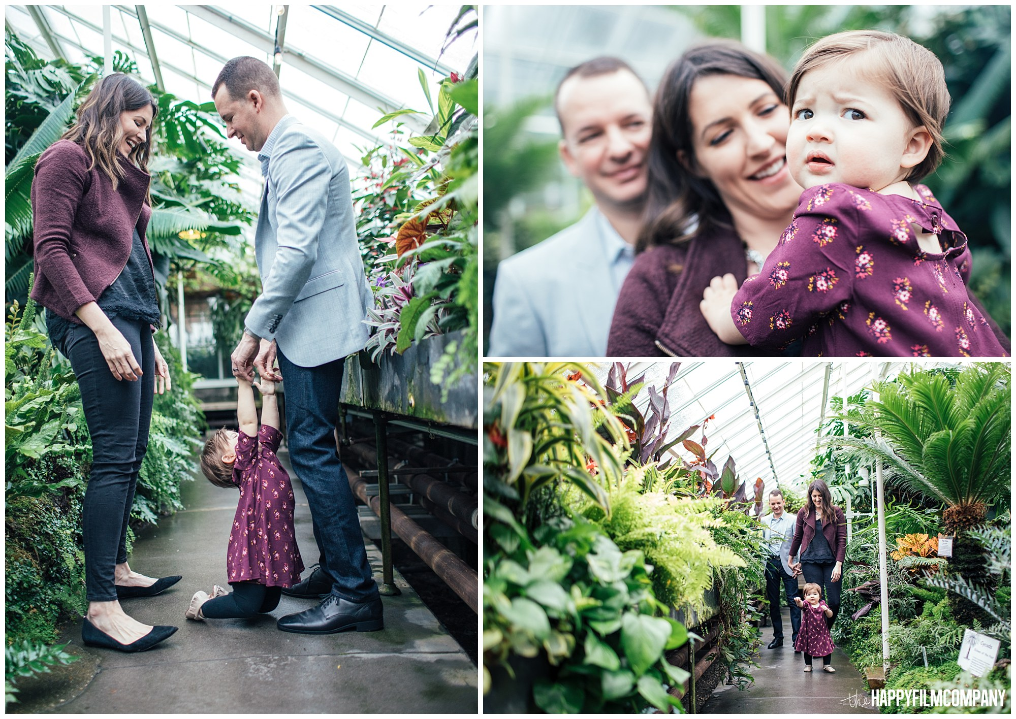 the Happy Film Company - Seattle Family Photos - Volunteer Park Conservatory - photography purple outfits winter