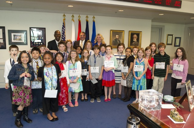 John Hunter and his class visit the Pentagon to talk with Secretary of the Defense, Leon Panetta about how they would achieve world peace.  Photo by Victoria Reynolds