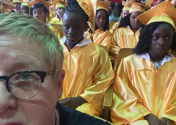 DK Holland selfie prior to the PS 20 5th grade commencement
