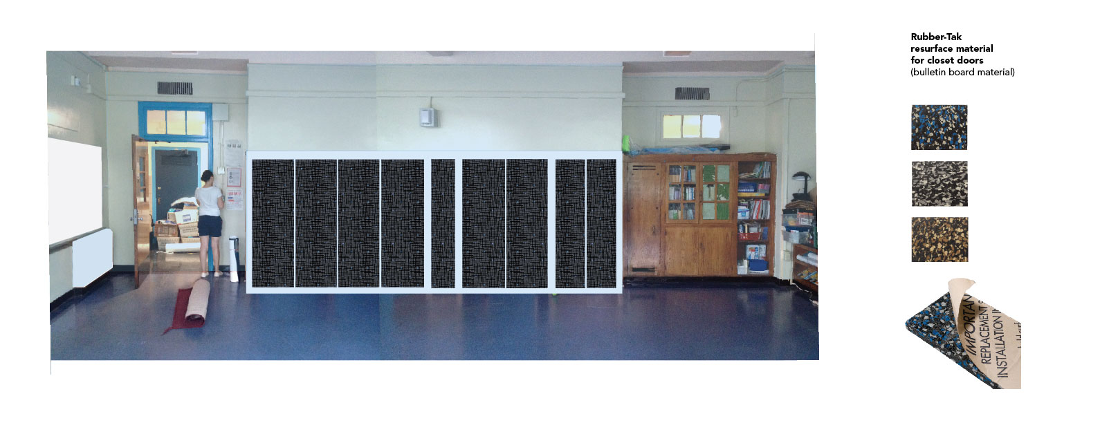 This is a rough mock up of how sound absorbent Rubber Tak would be installed on the hard wood closet doors in Room 220 and create a large display space for students work.