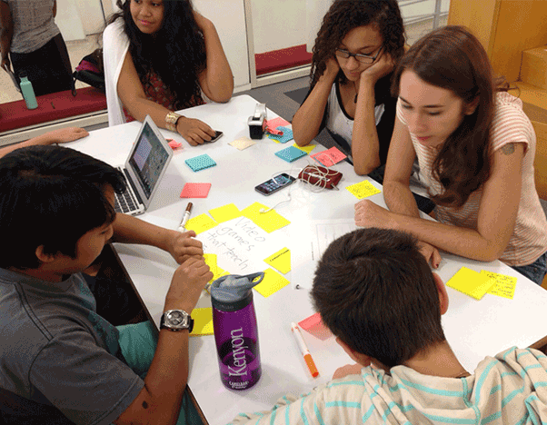Students came in for a feedback session and then did their own design workshop.