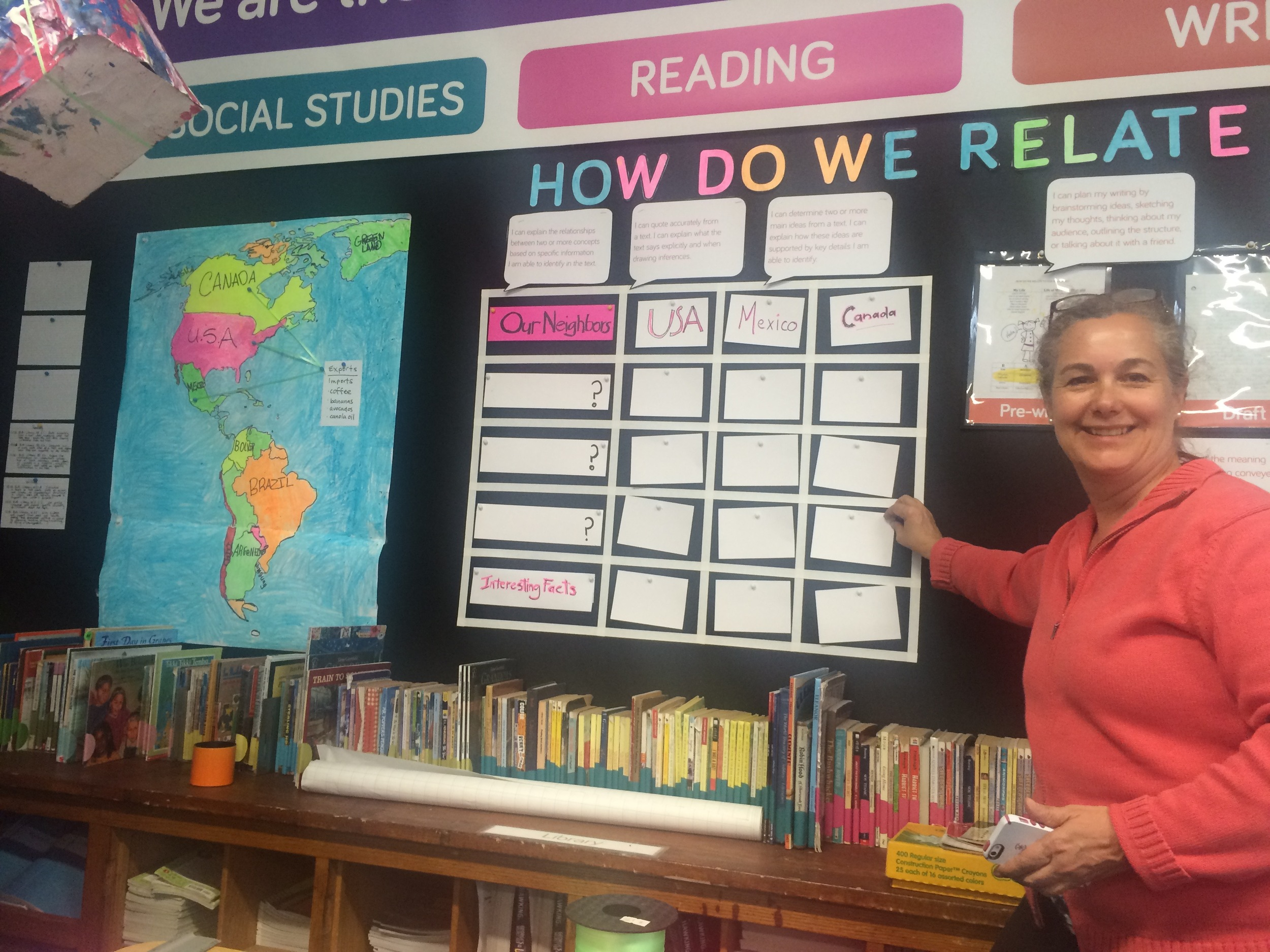 Dr. Galarce puts up a question card under the Reading section of the wall. Students were encouraged to write questions that related to the 3 countries of the USA, Mexico and Canada.
