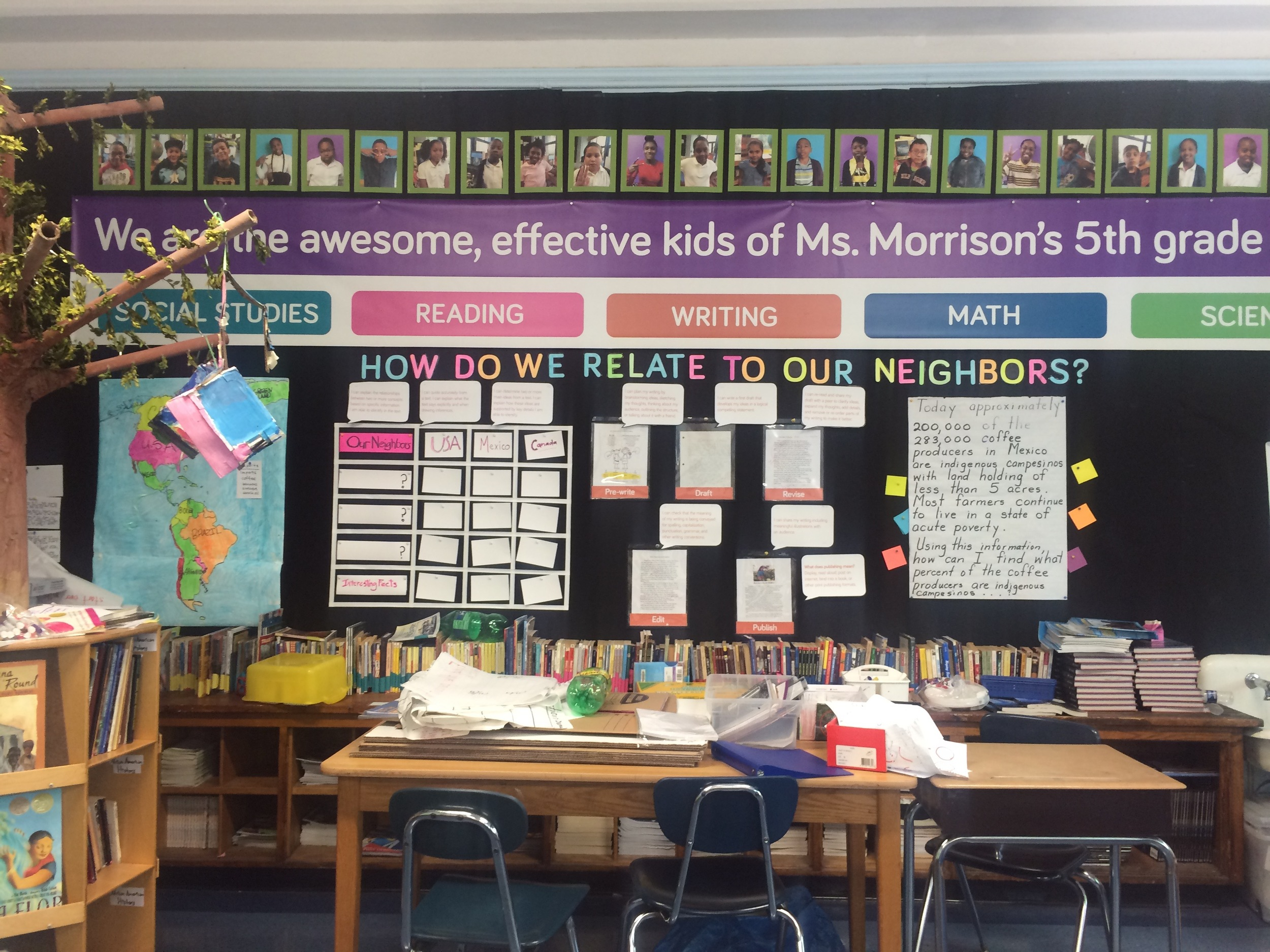 the Learning Wall is up and being added to.