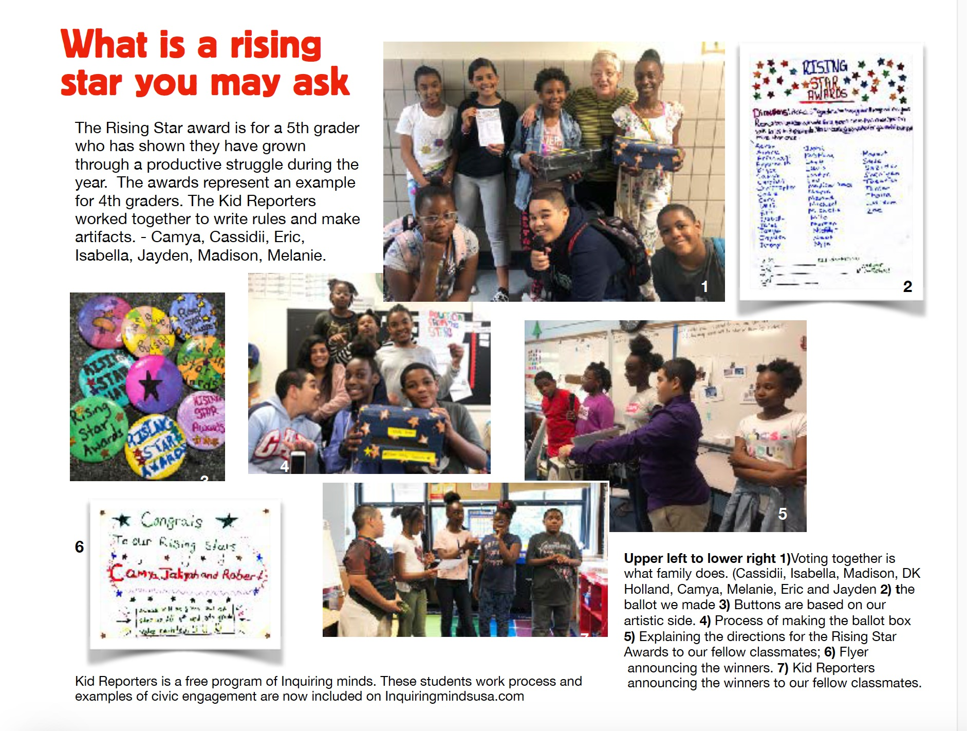 The students wrote and edited this one page article which (layout by Inquiring Minds) was printed by the PTA and distributed to all 4th and 5th graders as well as adults who attended graduation.
