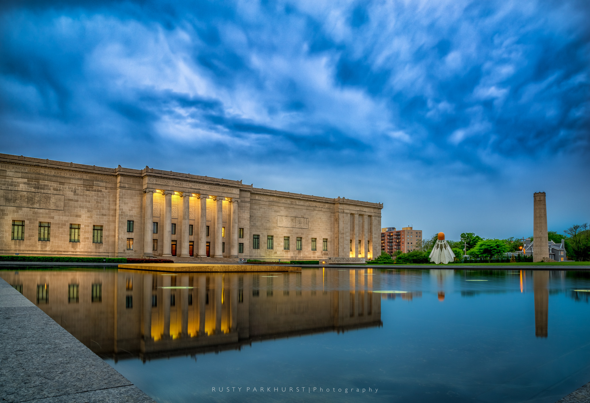 Nelson-Atkins Museum   - taken May 7, 2015.  I had seen photos of it before and wanted to make my own images of this museum of art in Kansas City.  The sky was pretty dramatic on this evening and the wind was calm to help with some nice reflections in the pool.