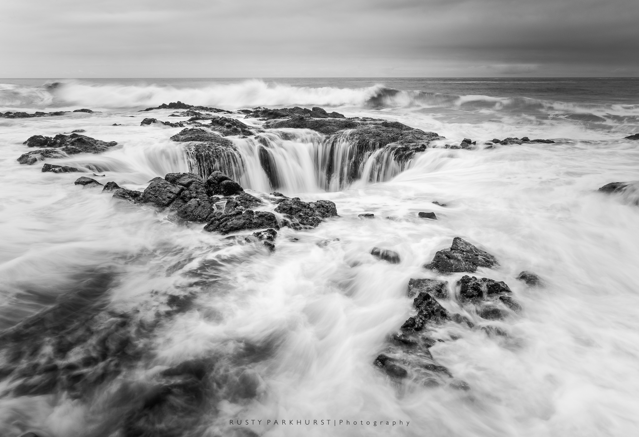 Thor's Well   - taken May 19, 2015. This is an amazing sight to see, located along the coast to the south of Yachats, Oregon.  The waves move in and out, filling the subsurface tunnel to this blowhole, that seems to be a natural drain for the sea.  Just be careful to not get too close!