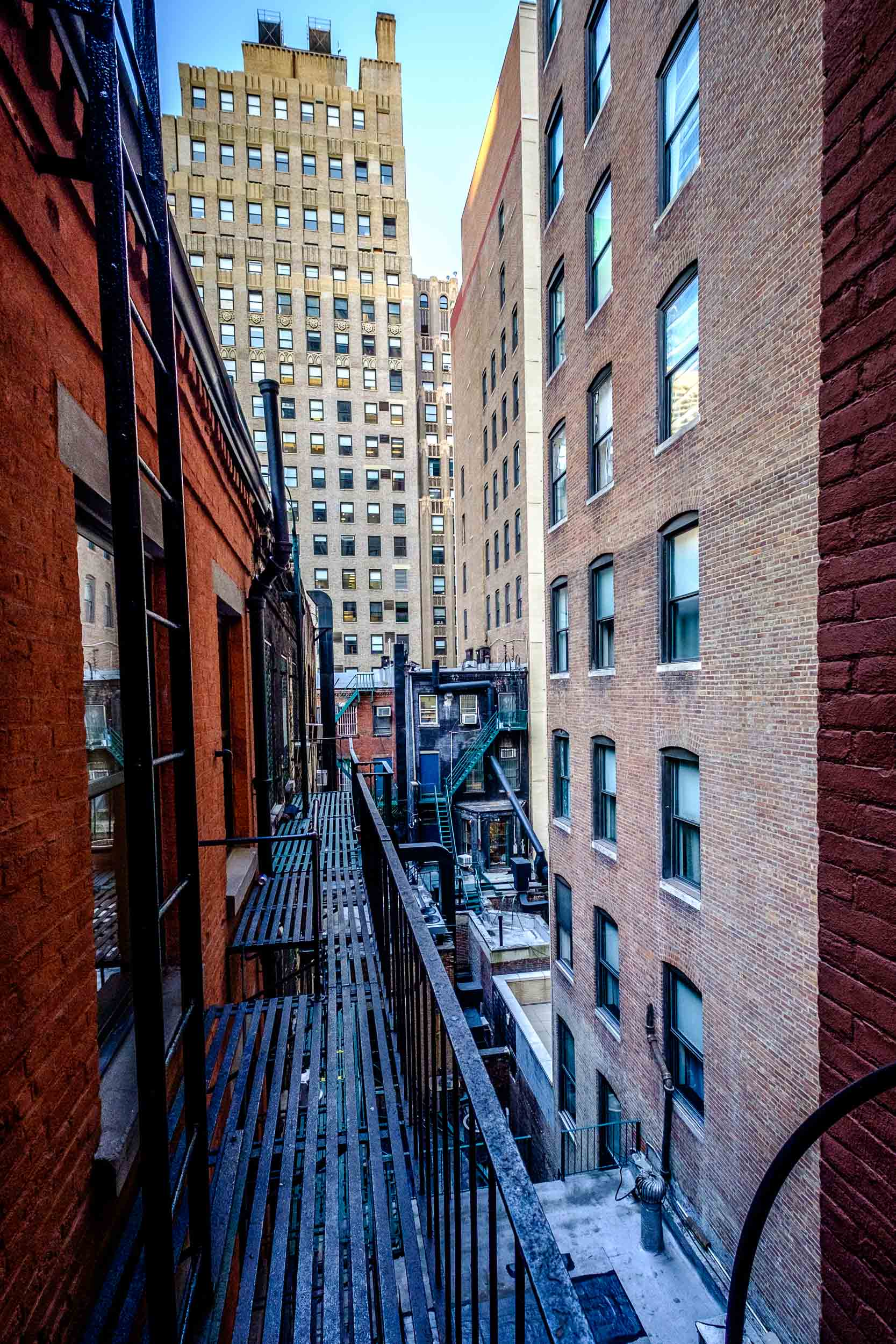 The fire escape outside my hotel room window.