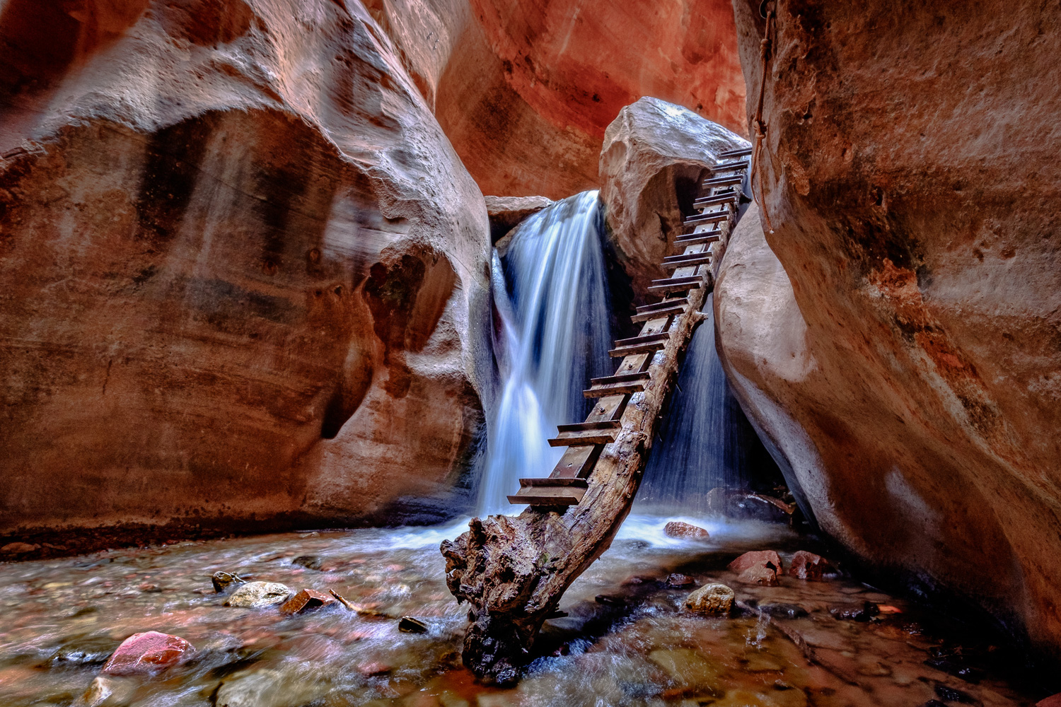 """""""Kanarra Creek Falls"""" - Located just outside of Zion National Park, this is a fabulous short hike into the canyon, with the reward of waterfall scenery. Captured on March 13, 2017."""