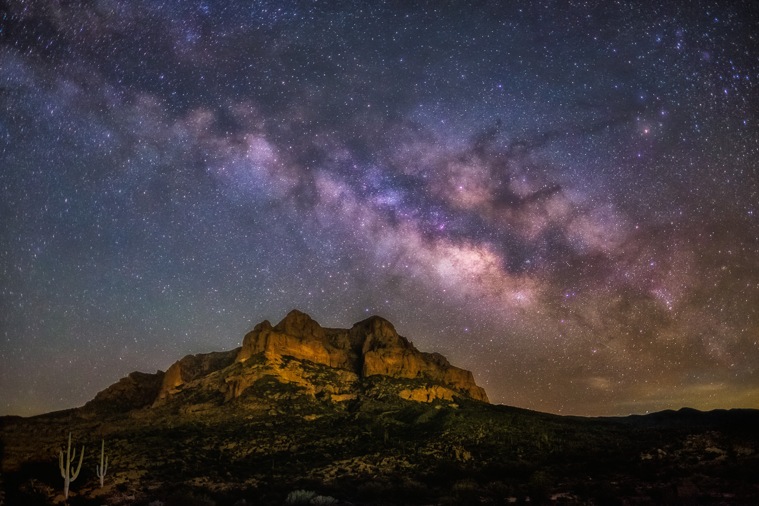 """""""Picketpost Mountain Milky Way"""" - This area just east of Phoenix offered some surprisingly dark night skies for capturing the Milky Way on March 9, 2017. This was less than 24 hours after spending the night at Monument Rocks."""