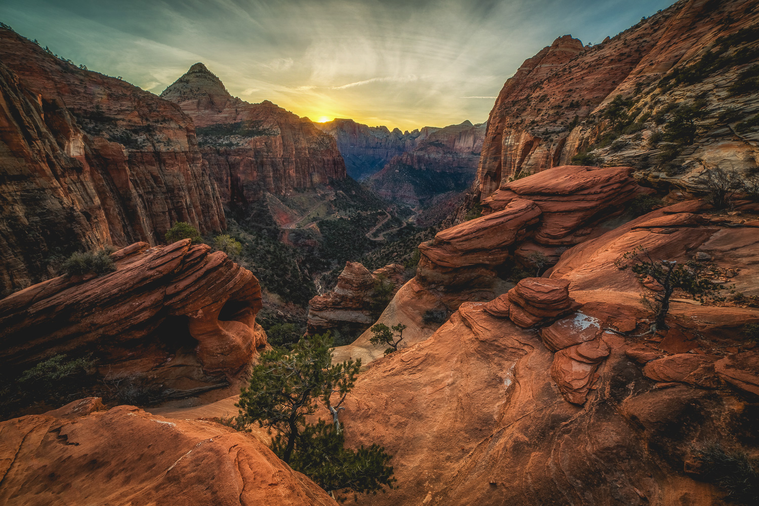 """Canyon Overlook Sunset"" - A wonderful view of the canyon in Zion National Park. Captured on March 12, 2017."