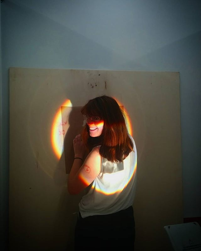 @emilouwalsh hard at work for her upcoming PhD show at the VCA. . . . . . . . . #melbourneartist #art #studio #melbourneuni #vca #potd #light #projection #artstudio #rainbow #artwork #workworkwork