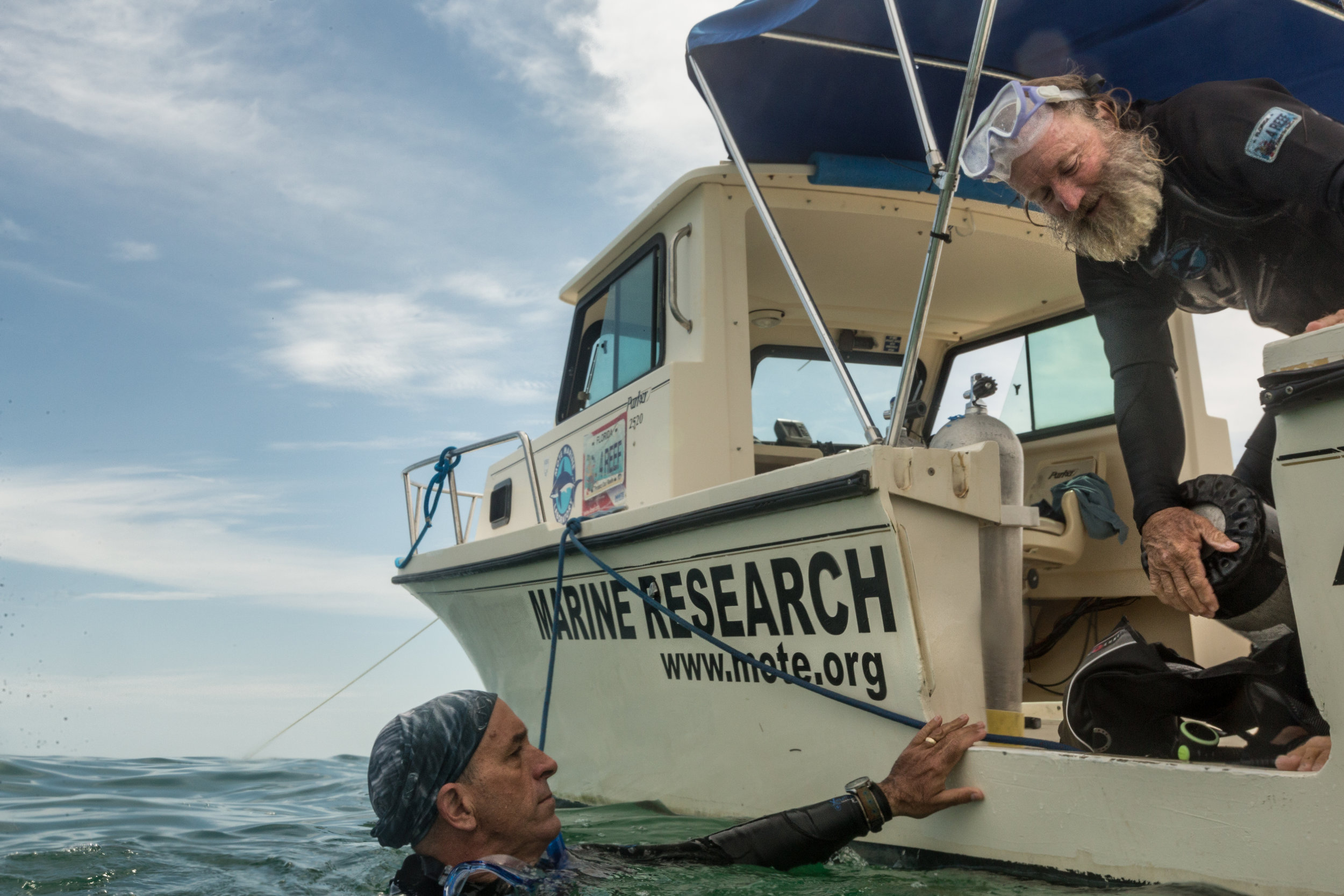 Executive Director of the International Center for Coral Reef Research & Restoration, Dr. Dave Vaughan (on boat) and Jacksonville University professor Dr. Dan McCarthy (in water) surface after outplanting coral fragments.