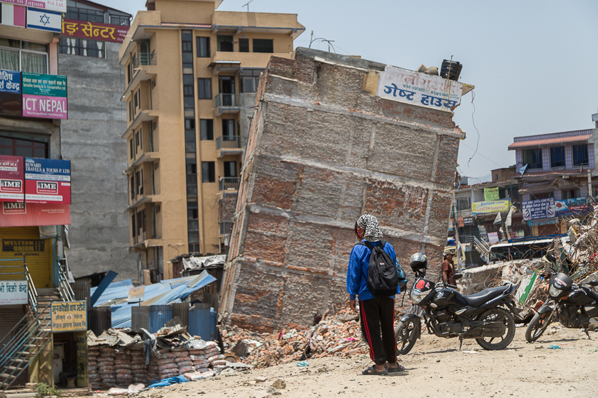 One of the many damaged buildings in the city center of Kathmandu.