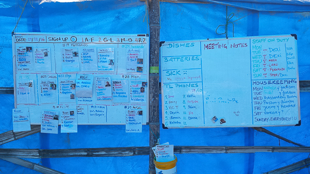 These two boards showed how the teams and assignments where organized for the week. At the beginning of the week, we had the option of changing teams or remaining on our current assignment.