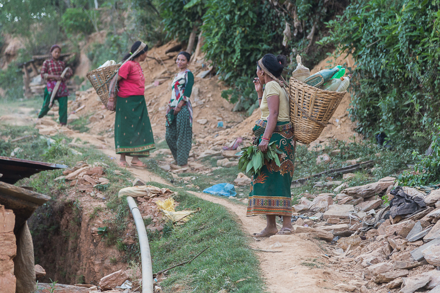 Some ladies from the village walking a few kilometers to get water.