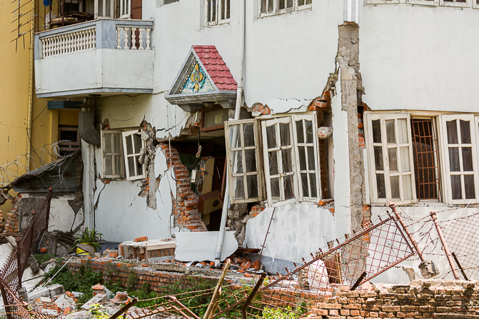 One of many damaged buildings near Thamel in Kathmandu.