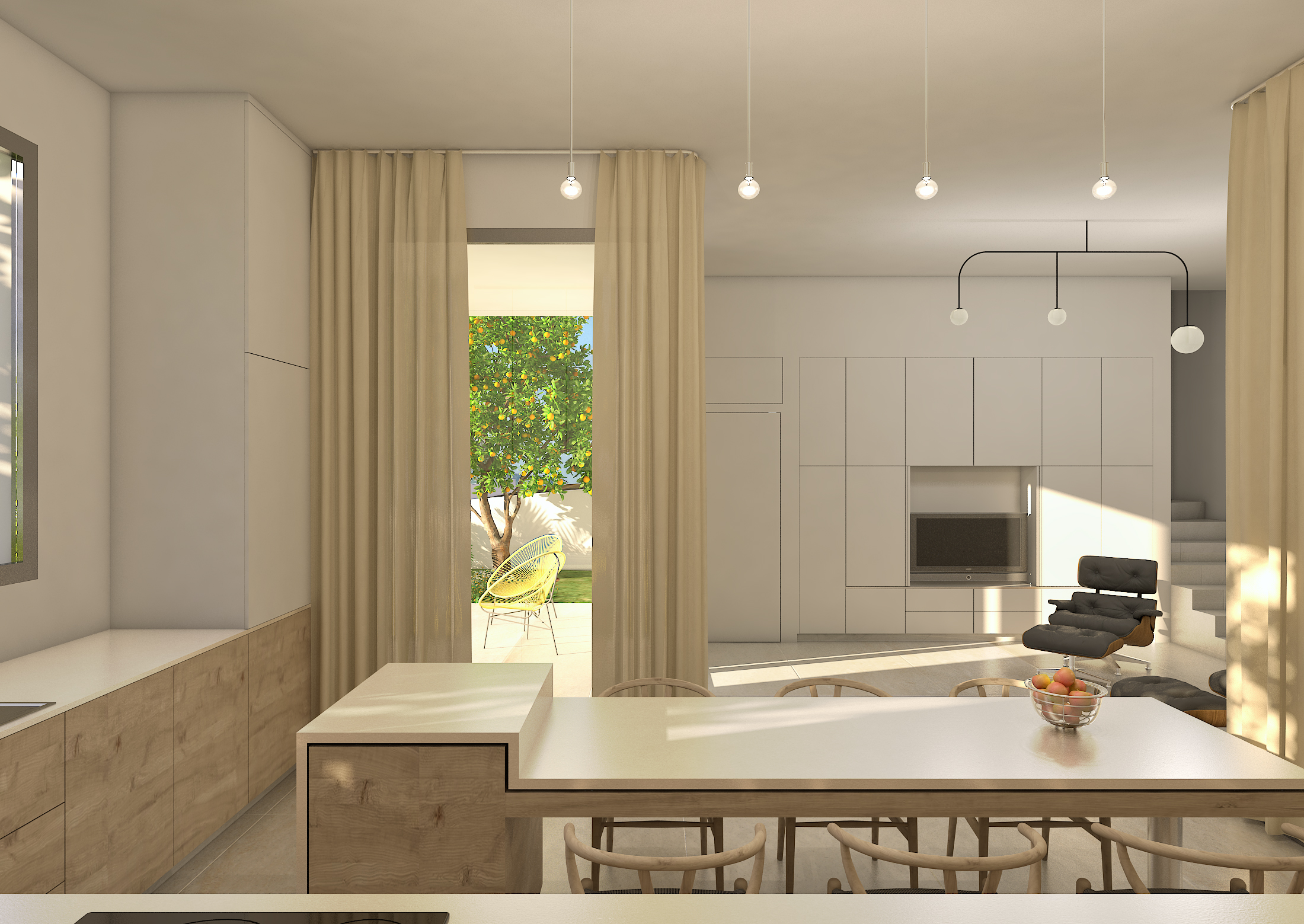 E: Ground floor. Kitchen to lounge.
