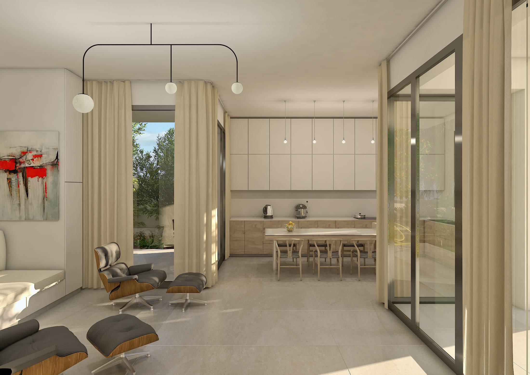 E: Ground floor. Lounge to kitchen.