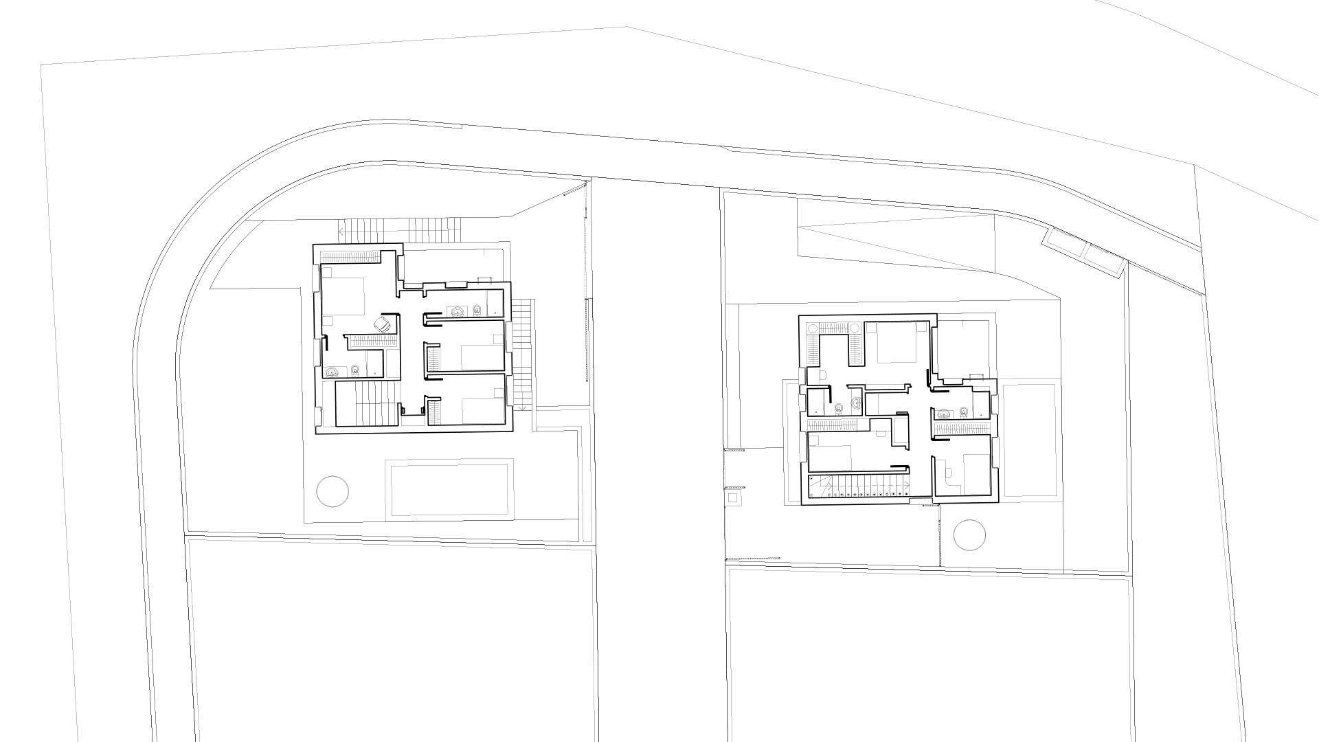A & E: Upper floor. Plan.