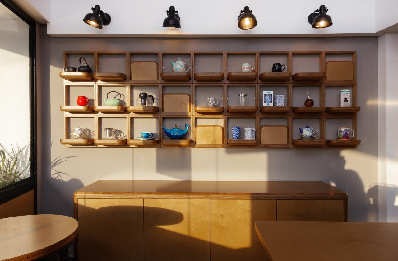 Performative shelves. Elevation.