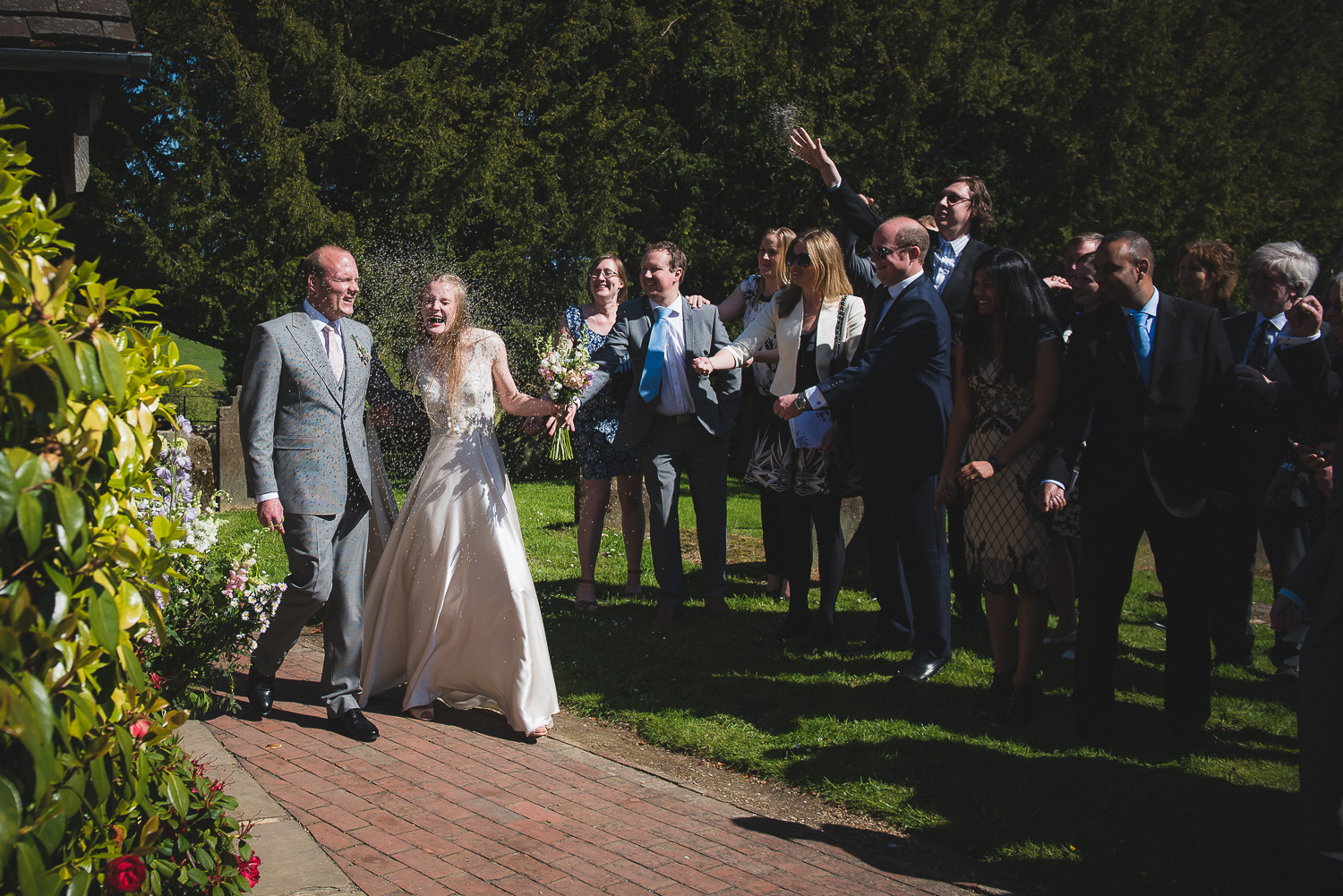 dried lavender confetti toss at wedding in sussex uk