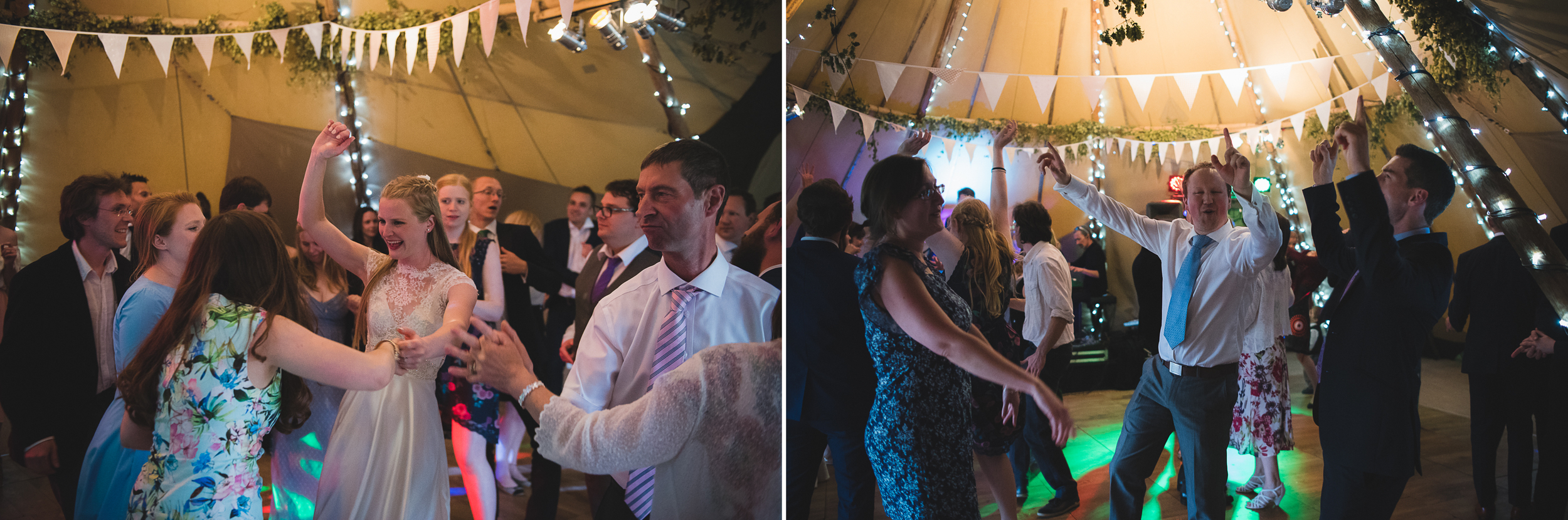 guests dancing at a tipi wedding in uk