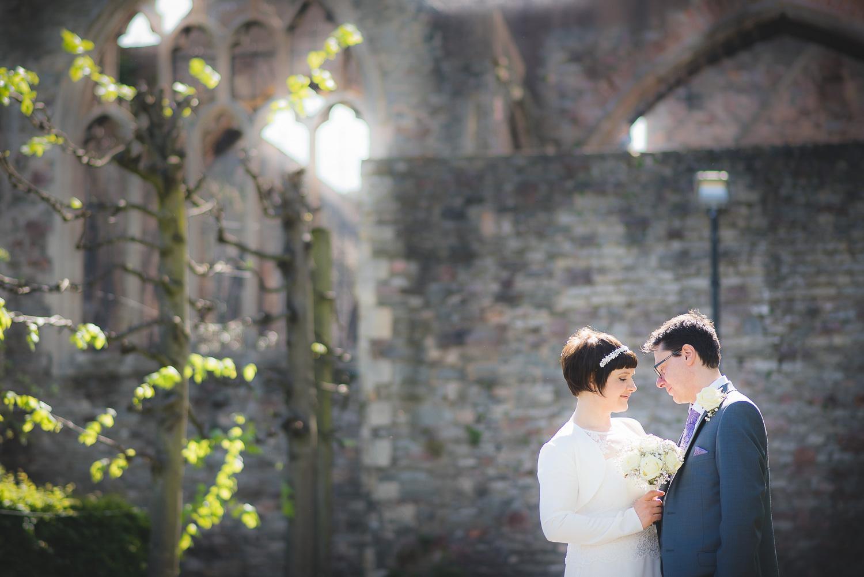 tilt shift effect at wedding for wedding couple portrait