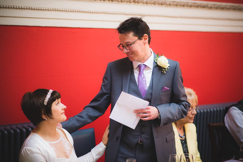 emotional speech by groom at wedding in bristol
