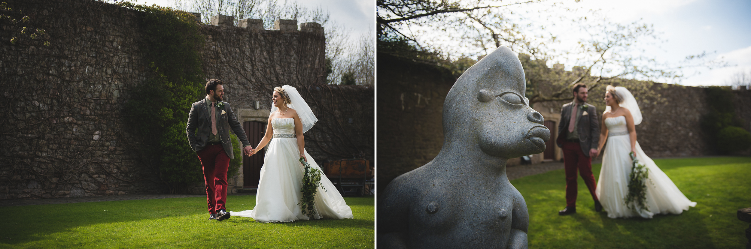 natural and funny wedding photo of couple at walton castle clevedon