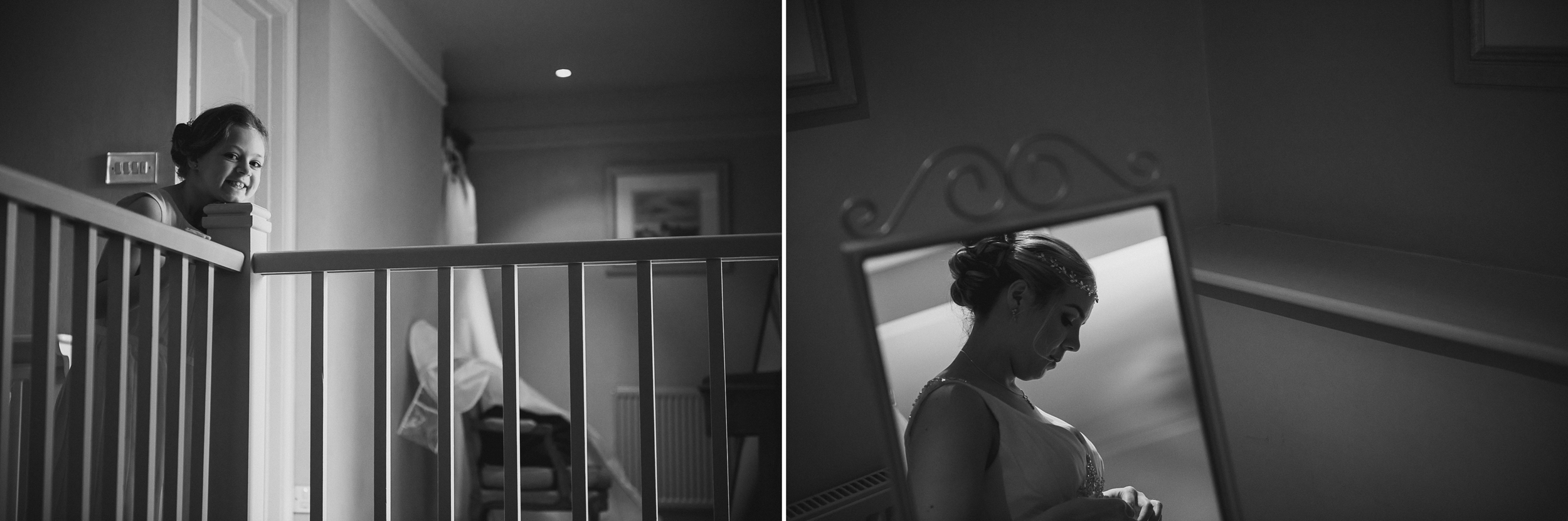 black and white documentary picture of bride and niece getting ready