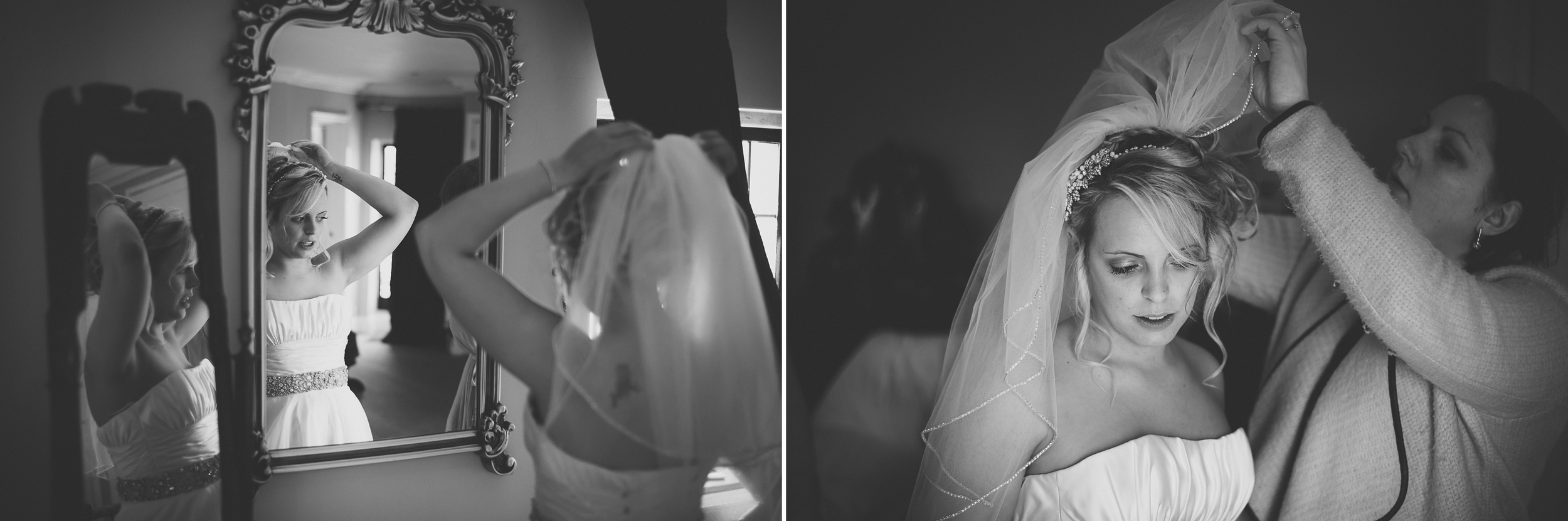 black and white documentary wedding photography of bride getting ready